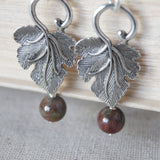 Kashgar Garnet Leaf Earrings