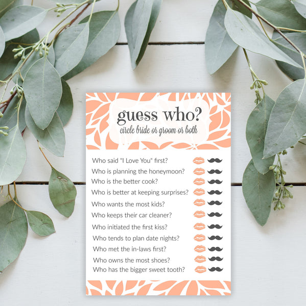 Guess Who Coral Bridal Shower Game Printable