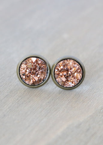 Rose Gold Faux Stud Earrings