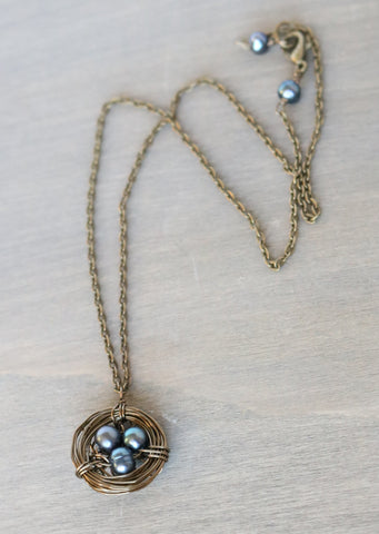 Navy Freshwater Pearl Bird Nest Necklace