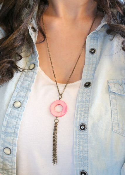 Pink Mother of Pearl Tassel Necklace