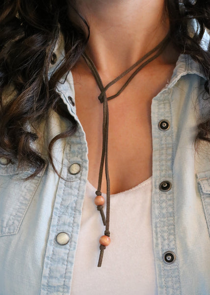 Brown Suede Wood Necklace