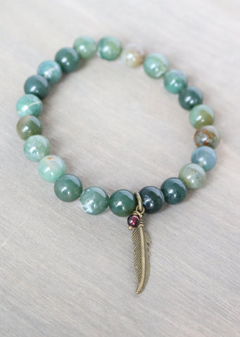 Fancy Jasper Feather Stretch Bracelet