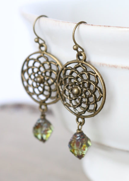 Green Flower Medallion Earrings