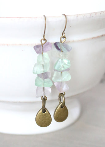 Multi-Fluorite Teardrop Earrings