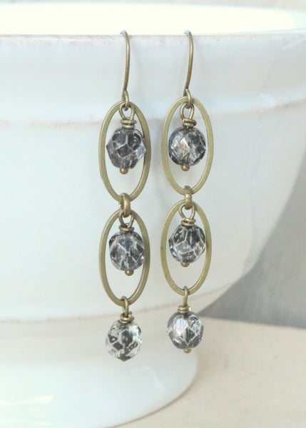 Gray Bronze Dangle Earrings