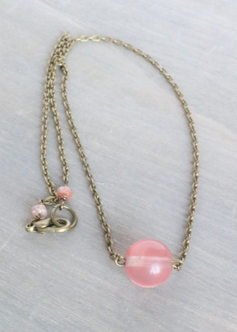 Cherry Quartz Bronze Necklace