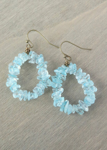 Aqua Hoop Earrings
