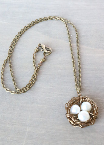 Freshwater Pearl Birds Nest Necklace
