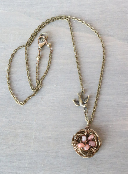 Sunstone Bird Nest Necklace