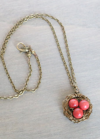 Coral Bird Nest Necklace