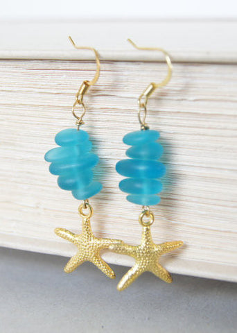 Blue Sea Glass Starfish Earrings