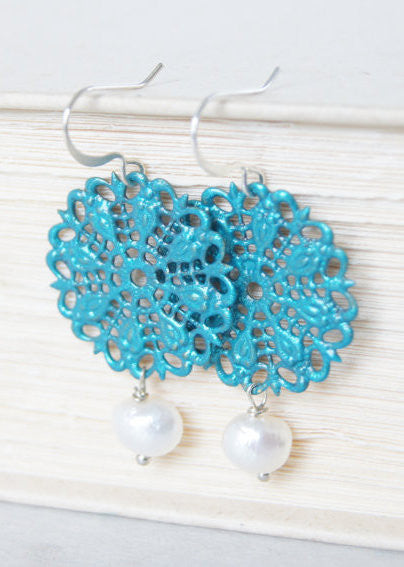 Blue and Freshwater Pearl Earrings