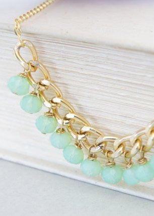 Lime Green Gold Dangle Necklace