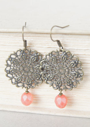 Coral Bronze Filigree Earrings