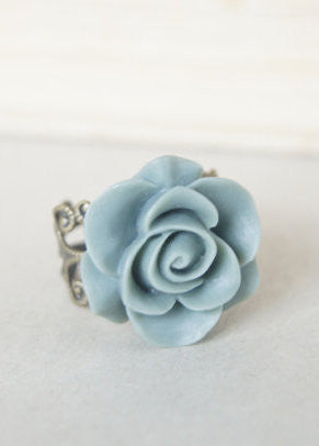 Blue Bronze Rose Ring