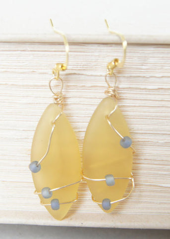 Yellow Sea Glass Earrings