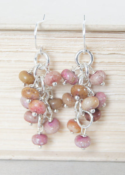 Pink and Brown Dangle Earrings
