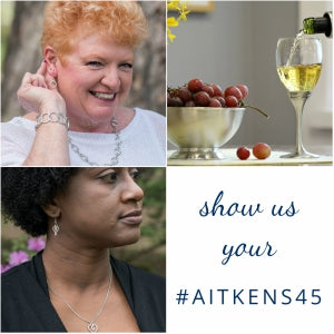"A woman smiles into the camera showing off her pewter jewelry. Wine pours into a pewter goblet beside a pewter bowl of fresh grapes. A woman looks into the distance wearing a pewter heart pendant. Caption ""Show us your #aitkens45"""