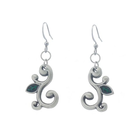 Devine Earring. Green enamel. Made from Pewter. Made in Fredericton NB New Brunswick Canada