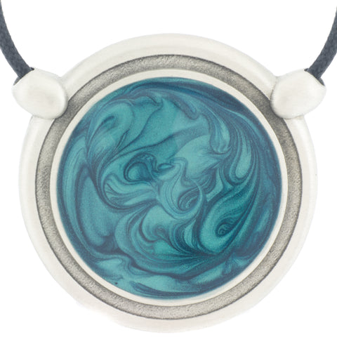 Inspiration Pendant. Teal Blue Enamel. Necklace. Black Cord. Made from Pewter.  Made in Fredericton NB New Brunswick Canada