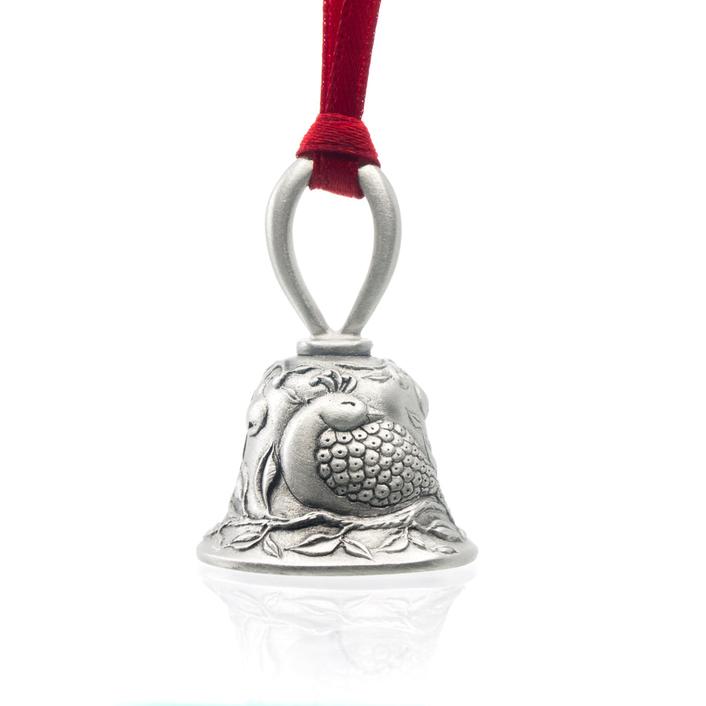 Partridge in a Pear Tree Christmas Bell, Made from Pewter. Red Ribbon. Made in Fredericton New Brunswick NB.