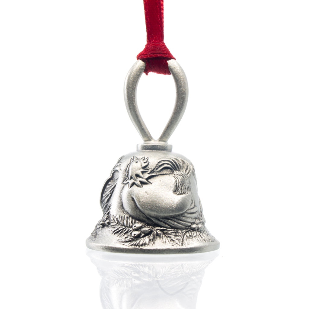Three French Hens Christmas Bell, Made from Pewter. Red Ribbon. Made in Fredericton New Brunswick NB.