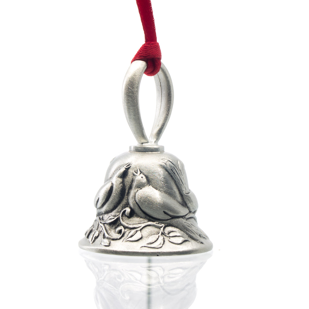 Four Calling Birds Christmas Bell, Made from Pewter. Red Ribbon. Made in Fredericton New Brunswick NB.