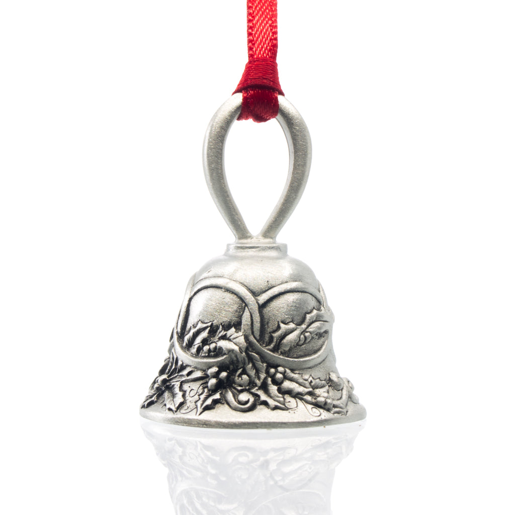 Five Golden Rings Christmas Bell, Made from Pewter. Red Ribbon. Made in Fredericton New Brunswick NB.