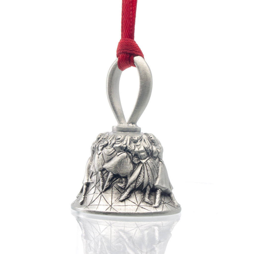 Nine Ladies Dancing Christmas Bell. Made from Pewter. Red Ribbon. Made in Fredericton New Brunswick NB.