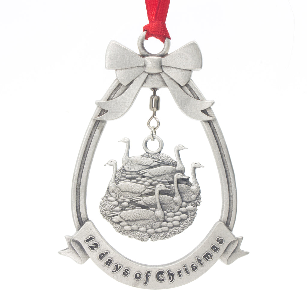 Six Geese A-laying 12 Day of Christmas Tree ornament. Made from Pewter. Red ribbon. Made in Fredericton NB New Brunswick Canada