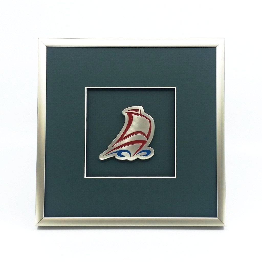 Framed Large Galley Crest with Enamel Without Text