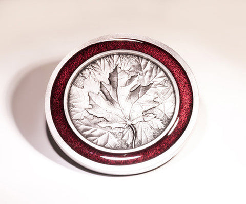 Canadiana Pewter Coaster with smooth red enamel