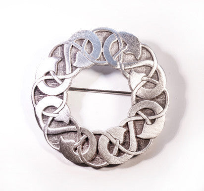 Celtic Linked Spirals Pewter Brooch