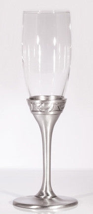 Champagne Flute with glass body and pewter stem