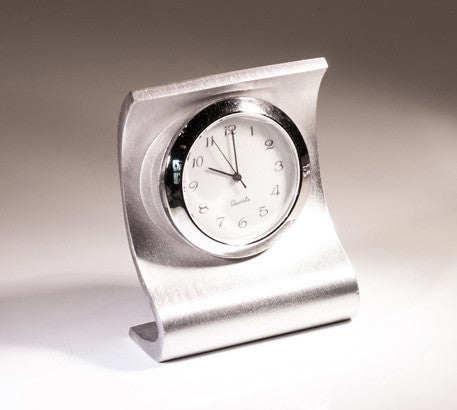 Elite Curved Pewter Desk Clock