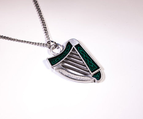 Irish Harp Pewter Pendant