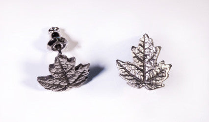 Maple Leaf Stud Pewter  Earrings