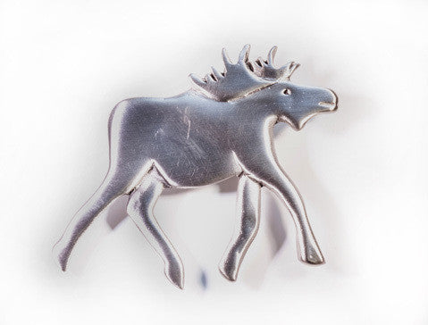 Merry Moose Pewter Brooch