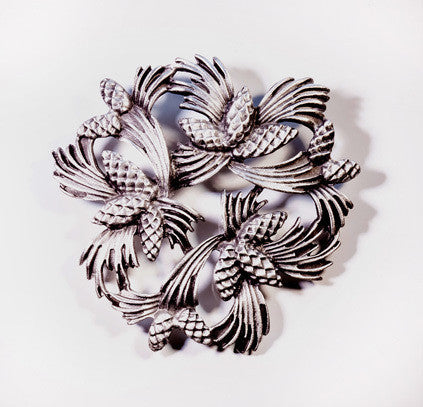 Pine Spray Pewter Brooch