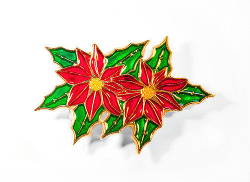 Red enamel Poinsettia Pewter Brooch with green enamel pewter leaves