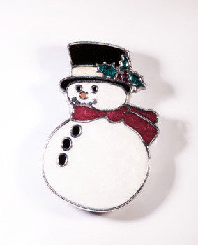 Snazzy Snowman Brooch with red enamel scarf and white enamel body