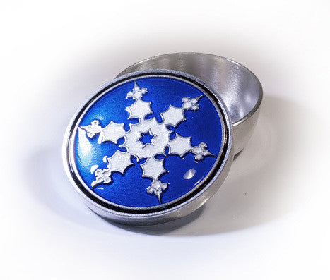 withe and blue Snowflake Enamelled Pewter Memory Box