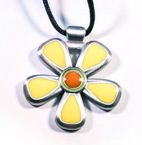 Spring Blossom Pewter Pendant Yellow