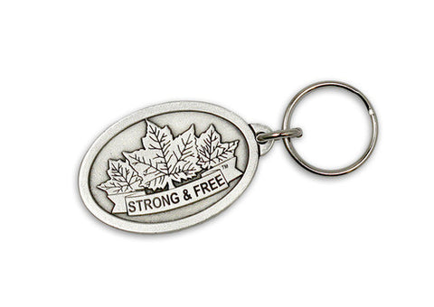 "Three maple leaves with ""Strong and Free"" engraving pewter keytag"