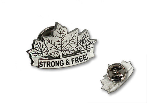 Maple leaf strong and free  pewter lapel pin