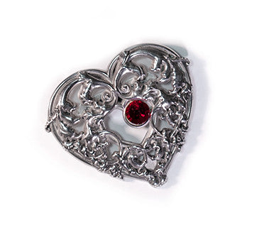 The Romance of Your Life Pewter Brooch with red enamel