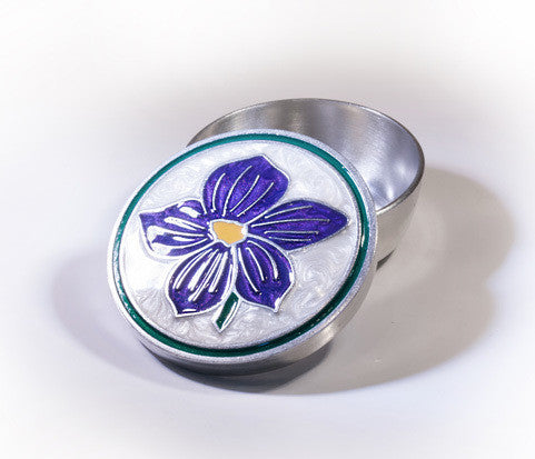 Violet Enamelled Pewter  Memory Box -