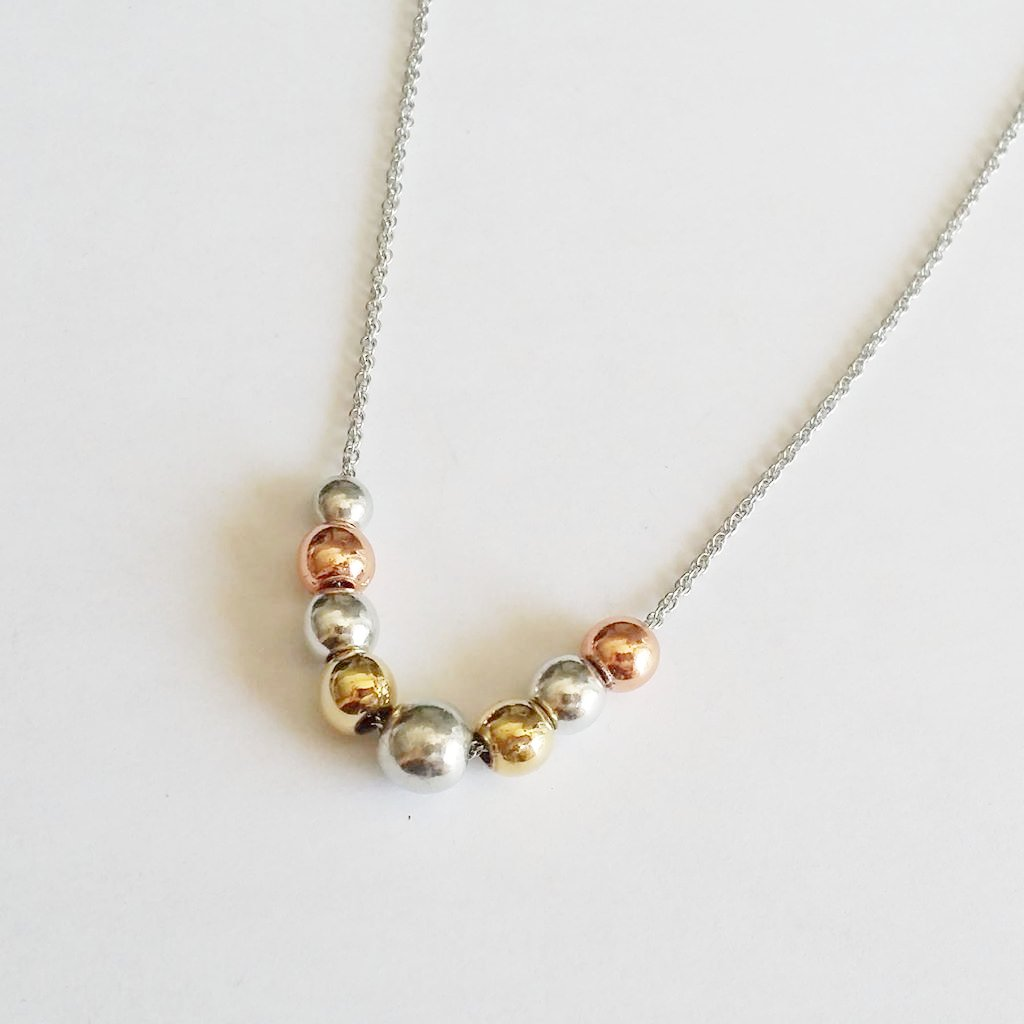 Tricolour Pewter Pearl Pendant