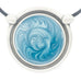 Inspiration Pendant. Sky Blue Enamel. Necklace. Black Cord. Made from Pewter.  Made in Fredericton NB New Brunswick Canada